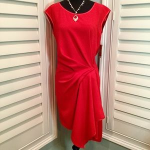 NWT, Rachel Roy Red Drape Front Dress, Small
